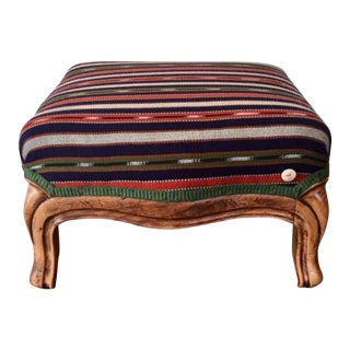 19th Century Vintage French Wood and Striped Fabric Footstool For Sale