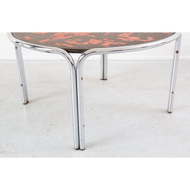 Metal Mid-Century Cocktail Table Attributed to Roger Capron For Sale - Image 7 of 7