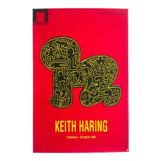 Keith Haring Estate Rare 1994 Lithograph Print Collector's Pop Art Italian Exhibition Poster For Sale
