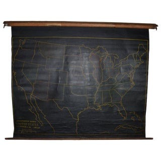 Map of United States, Early 1900s, With Chalkboard Canvas on Retractable Roller For Sale
