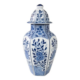 Early Dutch Delft Faience Floral Lidded Vase For Sale