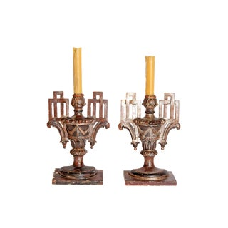 Pair of Italian Neoclassical Carved Candle-Holders For Sale