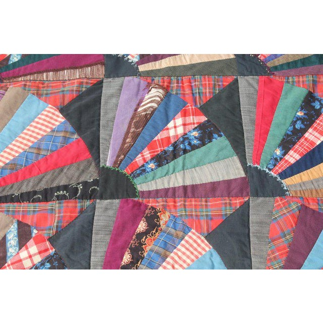 Cotton 19th Century Crazy Fan Quilt For Sale - Image 7 of 11
