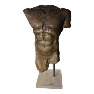 1980s Heavily Textured Pottery Bust Sculpture For Sale