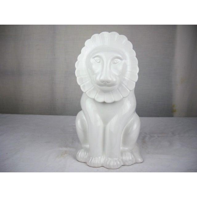 Vintage Italian Ceramic Lion Lidded Canister For Sale - Image 11 of 11