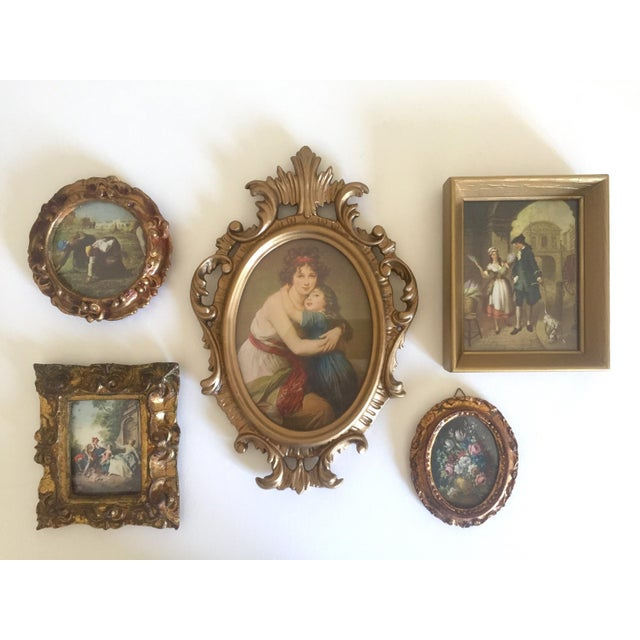 This collection of 5 authentic vintage Mid-Century miniature Florentine Classical 18th Century style gilded framed art...