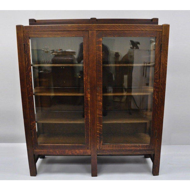 1900s Arts & Crafts Stickley Era Glass Double Door China Cabinet Bookcase For Sale - Image 13 of 13