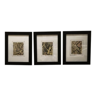 Abstract Paintings on Paper - Set of 3 For Sale