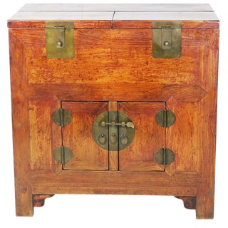 Antique Chinese Cabinet With Upper Storage Sections For Sale