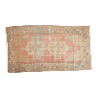 "Vintage Distressed Oushak Rug - 4'7"" x 8'4"" For Sale"