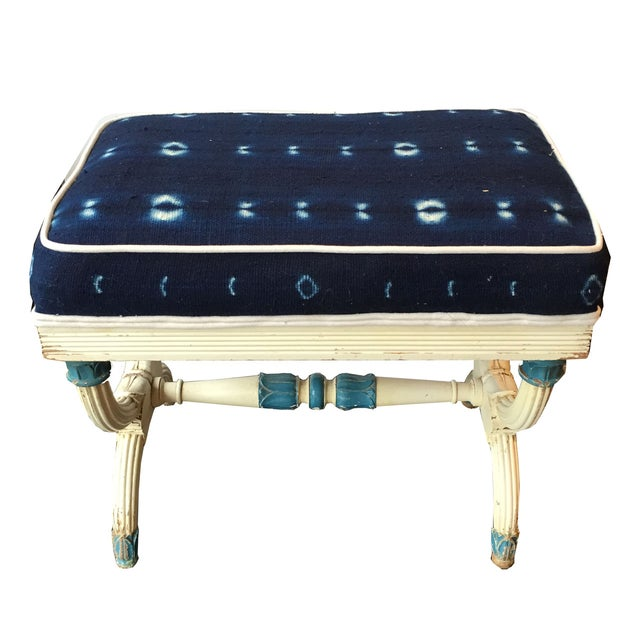 Antique French Bench Upholstered In Indigo Fabric - Image 2 of 2