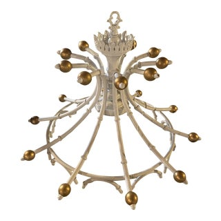Palm Beach Regency White Gold Ball Pagoda Crown Faux Bamboo Single Light Ceiling Chandelier For Sale