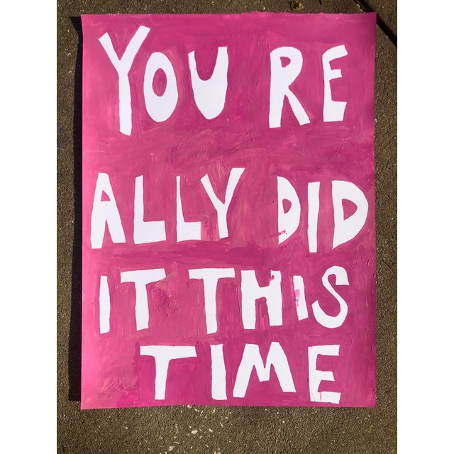 """Pink painting by artist Virginia Chamlee. Titled """"You Really Did It This Time,"""" though the painting can be read in two..."""