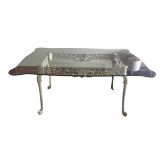 French Dining Table With Glass Top and Cast Iron Base For Sale