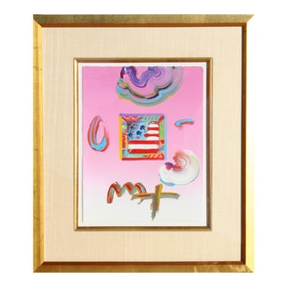 Flag (Pink), Original Acrylic on Paper by Peter Max For Sale