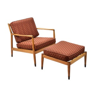 1960s Mid-Century Modern Folke Ohlsson for Dux Furniture Co. Lounge Chair & Ottoman - 2 Pieces For Sale