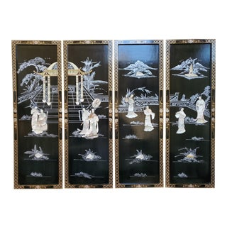 Early 20th Century Vintage Asian Black Lacquer Panels With Mother of Pearl - Set of 4 For Sale