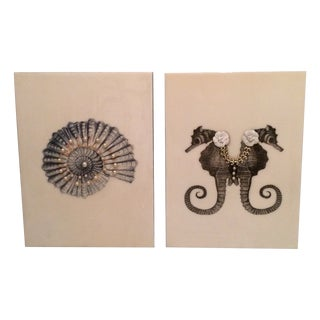 Nina Sural Decoupage Art - A Pair For Sale