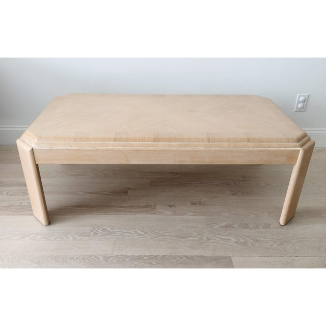 1980s Modern Tiered White-Washed Solid Wood Coffee Table For Sale - Image 10 of 10
