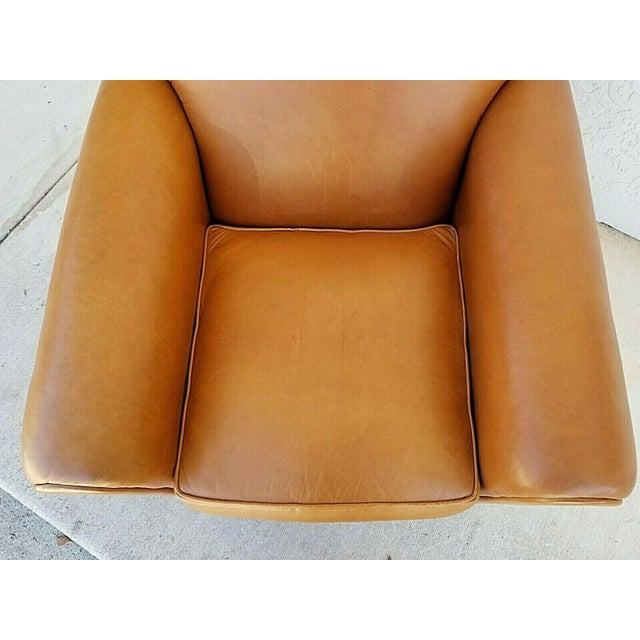 1980s MCM Ralph Lauren Genuine Leather Club Lounge Armchair For Sale - Image 5 of 12