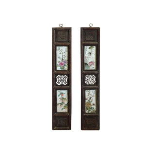 Chinese Vintage Pair Porcelain Wood Wall Panels Art