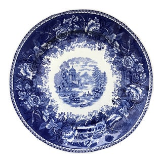 Vintage Large Blue and White Platter For Sale