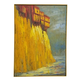 """""""Hanging Houses of Basin, Spain"""" Landscape Painting by Atking For Sale"""