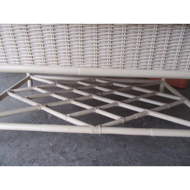 American 1970s Chippendale Wicker Coffee Table For Sale - Image 3 of 6