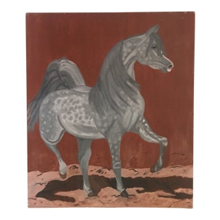 "Vintage Gray Speckled Dressage Horse Painting 29""x32"" For Sale"