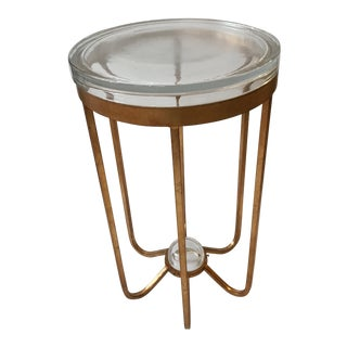 Schnazzy Designer Side Table With Gold Base and Thick Glass Top For Sale