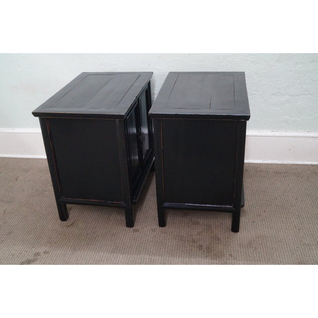 Rustic Black Chinese Cabinets or Chests - Pair - Image 8 of 10
