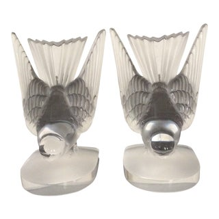 Lalique Hirondelle Bookends - a Pair For Sale