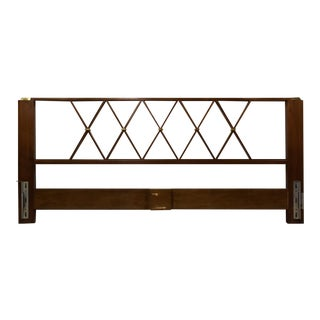 Walnut and Brass King Headboard for John Stuart For Sale