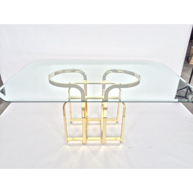 Glam Sculptural Glass & Brass Dining Table - Image 2 of 5