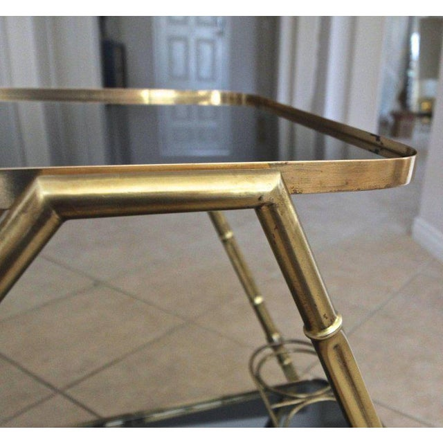 Italian Brass Faux Bamboo Bar Tea Cart For Sale - Image 9 of 13