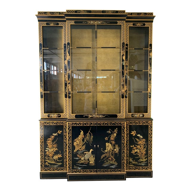 Asian Chinoiserie China Cabinet by Drexel For Sale