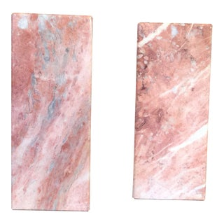 Vintage Pair of Pink Marble Bookends For Sale