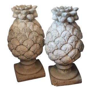 Antique Pineapple Stone Finials-A Pair For Sale