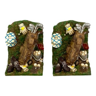 Green Golf Bookends - Pair of 2 For Sale