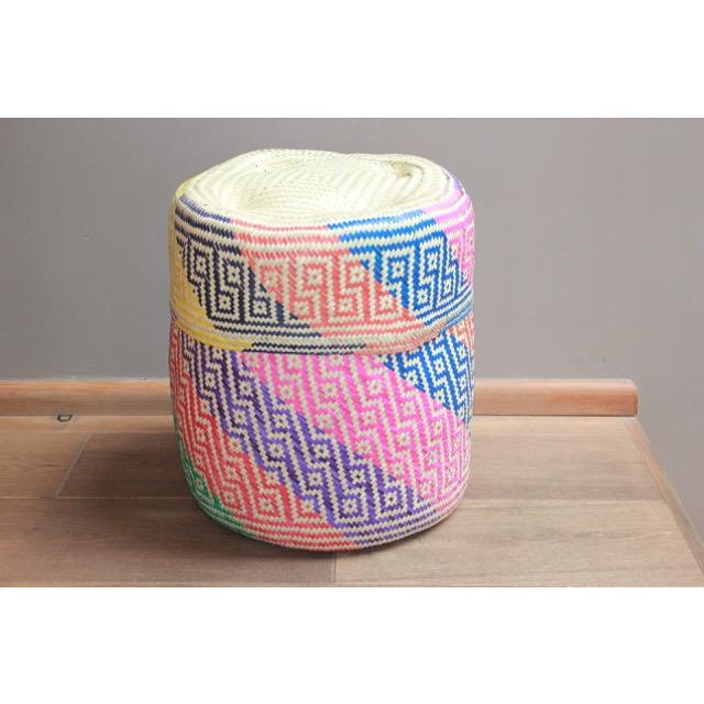 Oaxacan Hand-Woven Palm Bastes Lidded Basket For Sale - Image 4 of 4