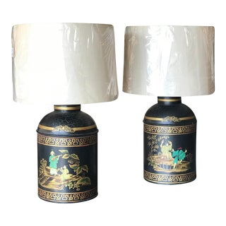 Pair of Tea Tin Lamps For Sale