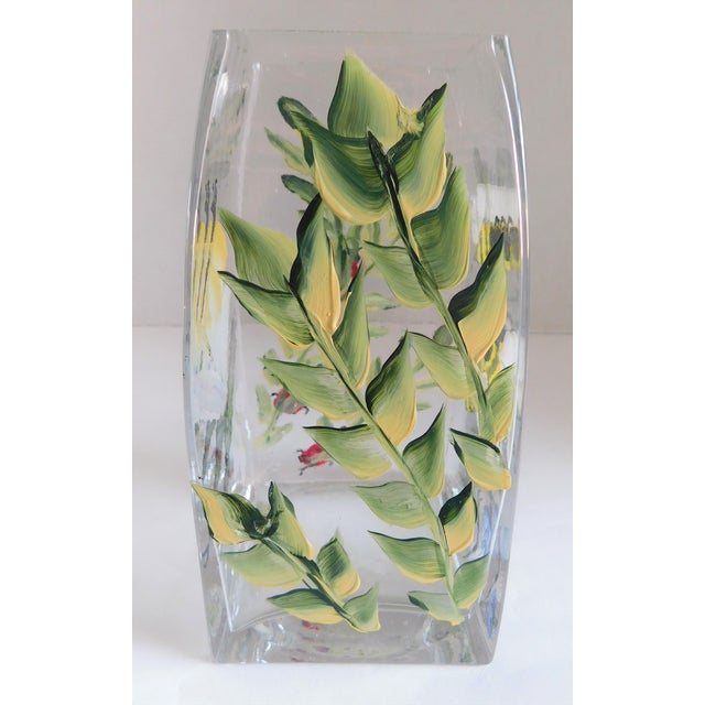 Hand-Painted Vintage Flora & Fauna Glass Vase For Sale - Image 9 of 12