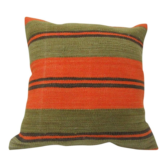 Vintage Orange and Green Striped Turkish Kilim Pillow Cover For Sale