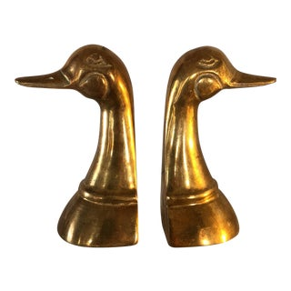 Classic Brass Duck Bookends - a Pair For Sale