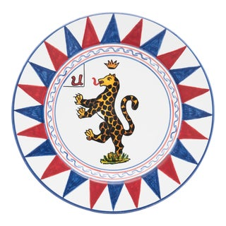 """Panther Dinner Plate 11.5"""", Contrade Dinnerware From Siena For Sale"""