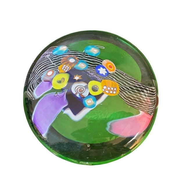 Millefiori Design Contemporary Hand Blown Glass Disk For Sale In Dallas - Image 6 of 6