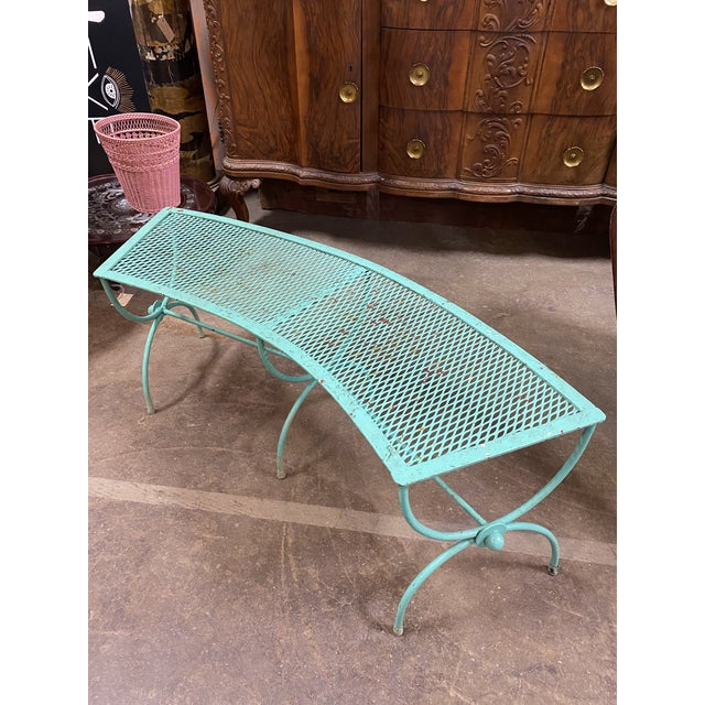 Mid-Century Modern Salterini Style Curved Iron Garden Bench For Sale In New York - Image 6 of 6