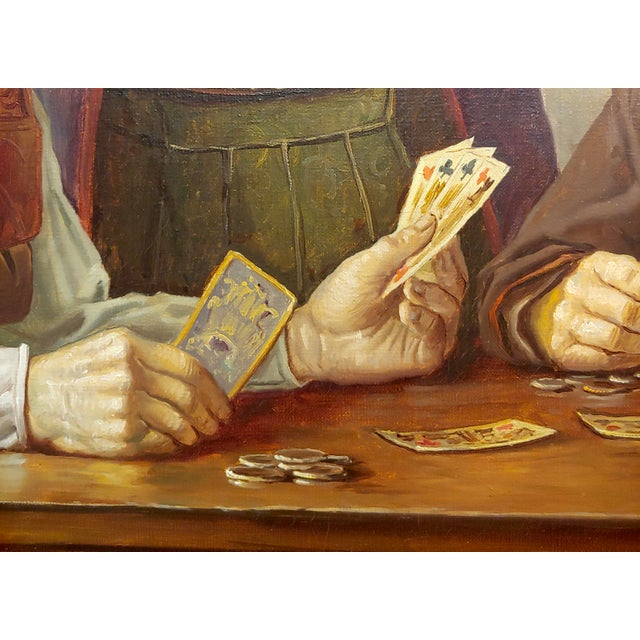 Canvas Otto Eichener -The Card Players -Oil Painting For Sale - Image 7 of 11