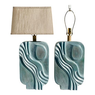 1980s Brutalist Style Plaster Lamps - a Pair For Sale
