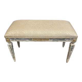 Vintage French Style Wood Painted Bench For Sale